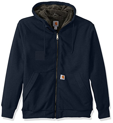 Carhartt Men's Rain Defender Rockland Sherpa Lined Hooded Sweatshirt, New Navy, Large