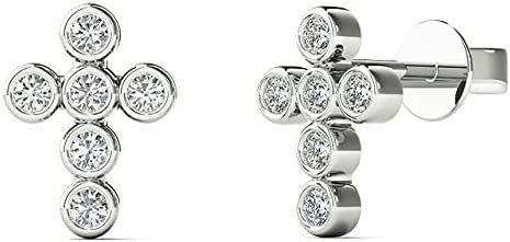 Generic 1 Our shop OFFers the best service 6 CT Outstanding Round Shape Cross White Cubic Zirconia Stud Earri