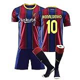 YUUY Ronaldinho # 10 Jersey Football T-Shirts Set Transpirable y de Secado rápido Jersey Jersey Niños Regalo (Color : A, Size : Child-22)
