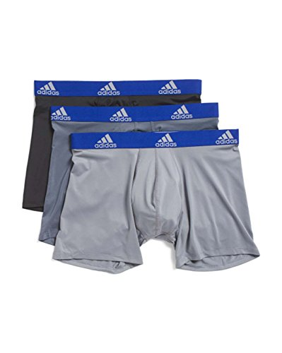 adidas Mens 3 Pack Climalite Performance Boxer Briefs (Medium, Onix/Black/Grey)