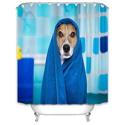 X-Labor Tier Duschvorhang 240x200cm Wasserdicht Stoff Anti-Schimmel inkl. 12 Duschvorhangringe Waschbar Badewannevorhang 240x200cm H&
