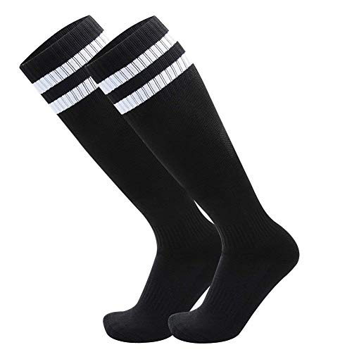 Beliefing Soccer Socks, Unisex Streifen Athletic Solid lange Tube Socken 2 Paar-Schwarz