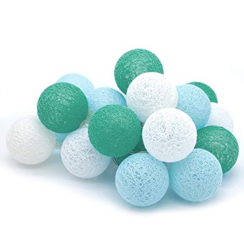 Tronje 20 LED 6cm Boules de Coton 3,8m Guirlande lumineuse Lumière Chaîne 4h Minuterie A piles Turquoise-Bleu Blanc-Chaud