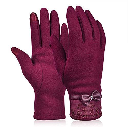 Damen Spitzen-Handschuhe, mit Schleife, für den Winter, warm, elegant beflockt, Damen, weinrot, Einheitsgröße
