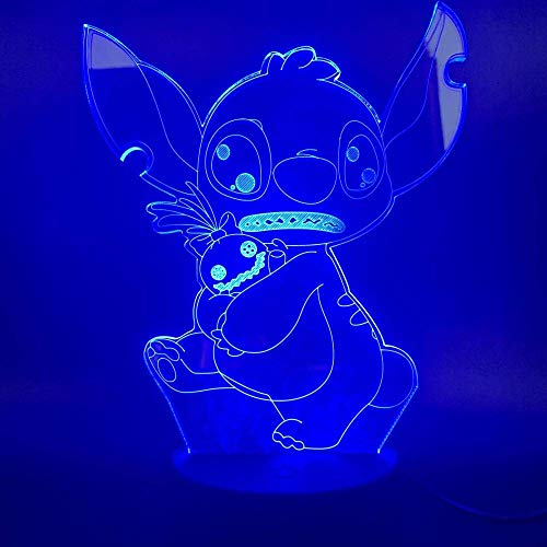 3D Illusion Lamp Led Night Light Color Changing Favorite Cartoon Lilo and Stitch Bedroom Christmas Decoration Teenager Best Birthday Holiday Gifts for Children