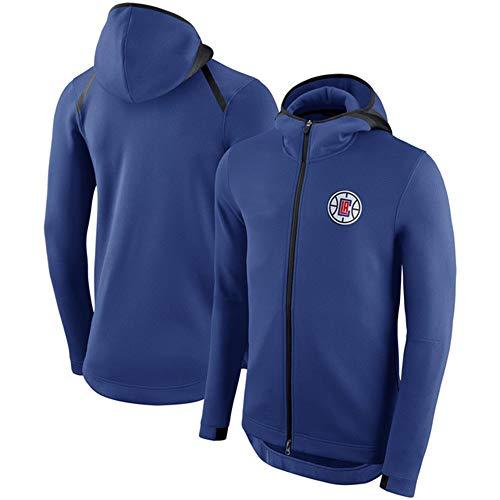 NBA Los Ángeles Clippers Sudadera para Hombre, Moda Baloncesto Manga Larga Fleece Jerseys Cálidos Sudadera con Capucha Suéter Casual Camisa Deportiva De Invierno,Azul,L
