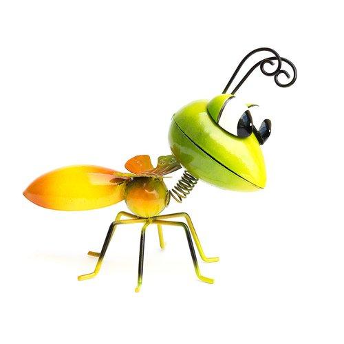 Dekofigur Insekt, Gartenfigur, Metallfigur, Blechfigur, Grün/Orange, Höhe ca. 12cm