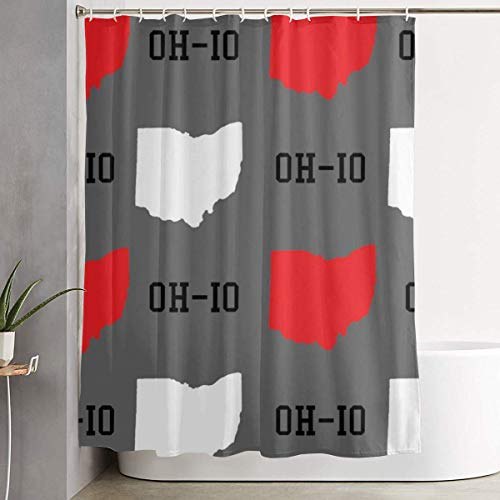 for Decorative Bathroom Curtain New Oh-io State Map Gray Shower Curtain with Hooks Waterproof Bathtub Curtain 60''W X 72''H