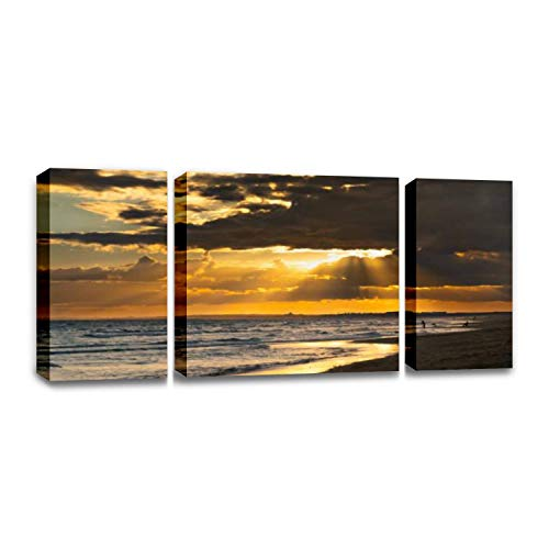 CCArtist Punta Umbria Beach Fisherman Sunset Stock Pictures Royalty Free Wall Decor Print on Canvas Modern Artwork Living Room Bedroom Painting Art Wall