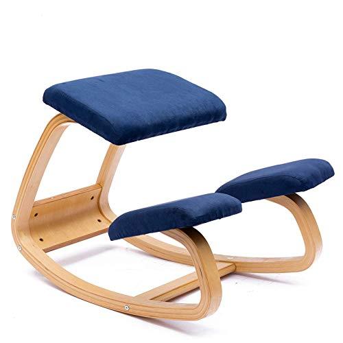 Ergonomie Kniestuhl Hocker Massagestuhl Birkenstruktur für Nackenschmerzen und Wirbelsäulenentlastung Bürostuhl Knieschützer - Flanell maximale Belastung 150 kg blau