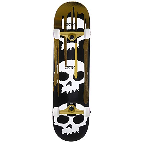 "Zero Skateboards Assembly 3 Skulls with Blood Gold Foil 8.0"" Complete"