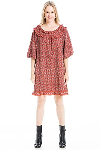 Max Studio Women's Crepe Smocked Ruffled Sleeves Short Dress, Spice/Dusty Pink Viney Vintage Floral, Extra Large