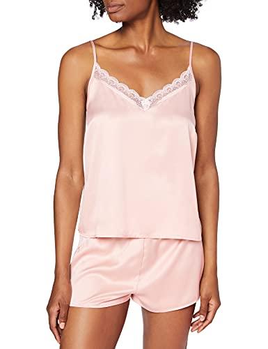 Amazon-Marke: Iris & Lilly Damen Pyjama-Set aus Satin, Pink (Rose Smoke), L, Label: L