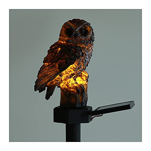 Lihuzmd Garden Solar Lights Outdoor,Owl LED decoration landscape light with Stake round lamp Resin waterproof,2 color,Brown,2 pack