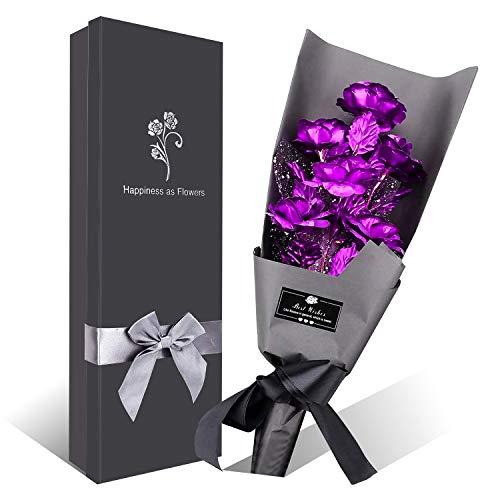 Lila Rose Blumenstrauß, 6 Stück Handgefertigt Goldfolie Künstlicher Rosenstrauß - mit Geschenkbox für Frau Freundin/Muttertag/Geburtstag/Hochzeitstag/Jahrestag Künstliche Rose (Lila)