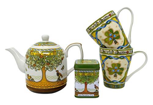 Royal Tara Traditionelles irisches Tee-Set mit Lebensbaum, lose Teeblätter und 2 Kleeblatt-Tassen und Lebensbaum-Teekanne aus feinem Knochenporzellan