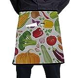 N\A Delantal de Cocina Moderno Zanahorias de jardín Repollo Otras Verduras Delantal de Camarera con Bolsillo Grande Unisex para Cocina Elaboración de Dibujo de Barbacoa