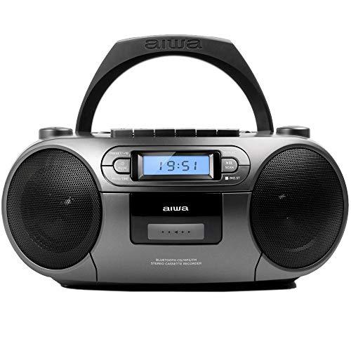 Aiwa BBTC-550MG: Radio Cassette Portátil con CD, Bluetooth y USB, Grabador de Cassettes, Matt Grey