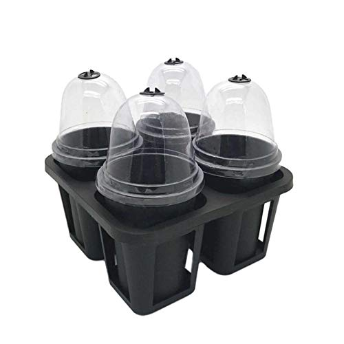 Seedling Starter Trays,Garden Seed Starting Tray with Dome and Base Greenhouse Grow Set Mini Propagator for Seeds Growing(4 /6Cells Per Tray)