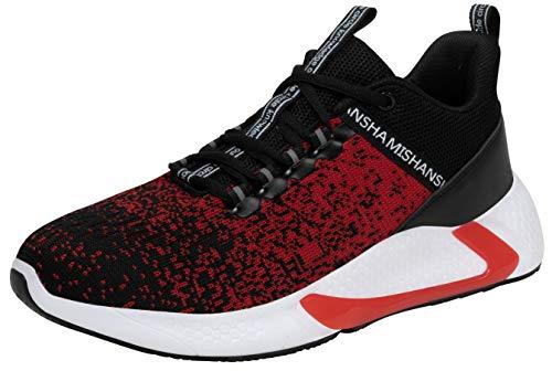Mishansha Herren Laufschuhe Damen Atmungsaktiv Sportschuhe Leichte Turnschuhe Sneaker Dämpfung Beiläufig Walkingschuhe Joggingschuhe, Rot 44