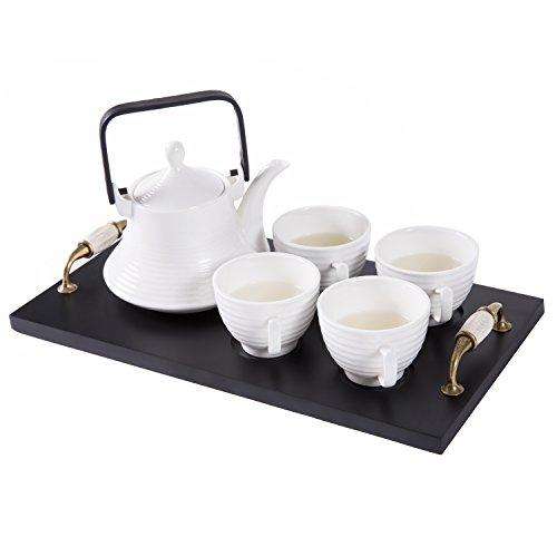 Classic White Ribbed Ceramic Tea Set, Vintage Serving Tray, Teapot & 4 Teacups - MyGift