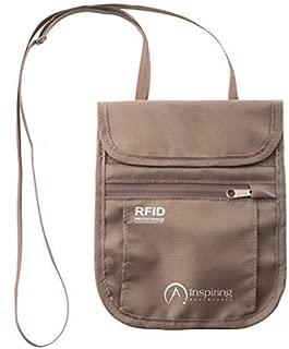 Cartera de Cuello,ValueTalks Portadocumento de Cuello para Viaje con Bloqueo RFID Resitente al Agua Correa de Mano Ajustable Bolsa de Cuello Anti-Robo para Mujeres Hombres y Ni/ños
