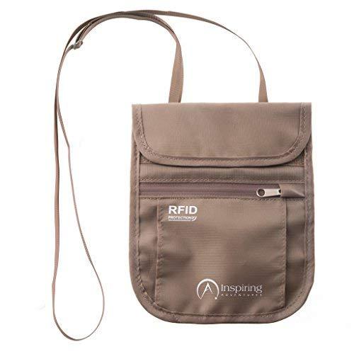 Pochette tour de cou de voyage - Sécurité de blocage RFID - Cachette de cou résistant à l'eau - Support de passeport et pochette...