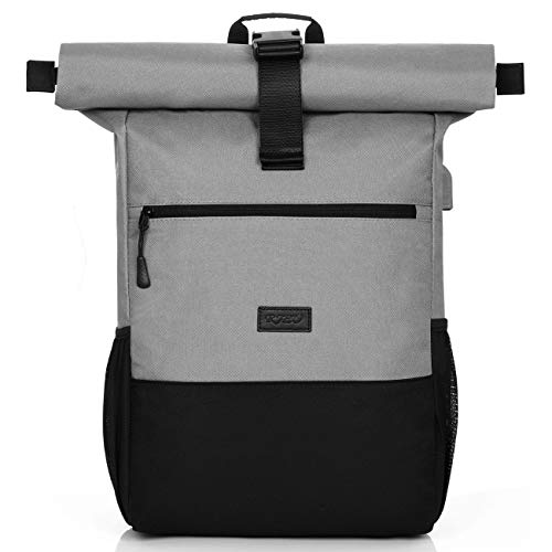 RJEU Rolltop Rucksack für Damen und Herren,Daypack mit 12-17 Zoll Laptopfach,Wasserdichter und Anti-Diebstahl (S33-DarkGray)