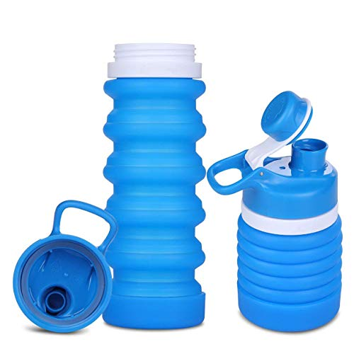 LIXIAOYUN 550ML Portable Foldable/Collapsible Water Bottle,BPA-Free Siliconthe Best Small Water Cup for Travel Sports Cycling Festivals Hiking Camping,Lightblue