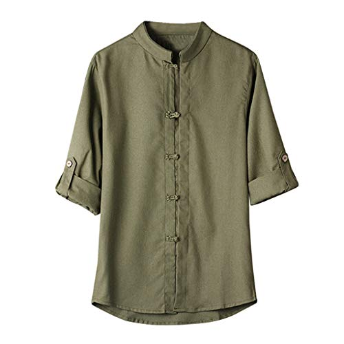 Men Classic Chinese Style Kung Fu Shirt Tops Tang Suit 3/4 Sleeve Linen Retro Loose Blouse Green