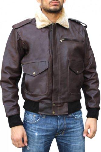 Lederjacke Bomberjacke Pilotenjacke Fliegerjacke Biker Jacke Braun, Größe:48