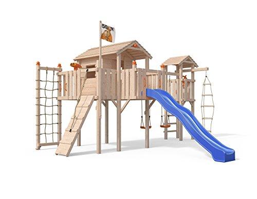 Oskar Terrizio XL-Spielturm Baumhaus mit Turm Schaukelanbau, 3- Seiten Strickleiter, Rutsche, Doppelschaukel, Kletterrampe, Kletternetz und Spielhaus auf 1,50 Meter Podesthöhe (Blau)