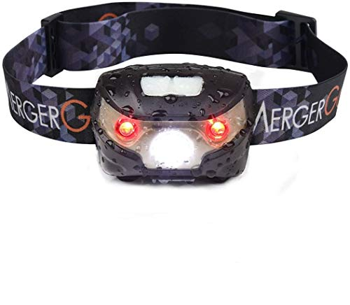 MergerGo USB Rechargeable LED Headlamp,Ultra Lightweight Comfortable Super Bright Waterproof,Perfect for Running,Camping,Hiking,Fishing,Bicycling (Black)