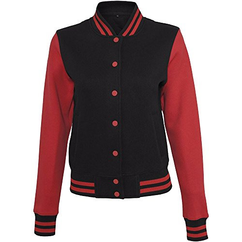 Build Your Brand - Sweat College - Giacca Casual - Donna (XS) (Nero/Rosso)