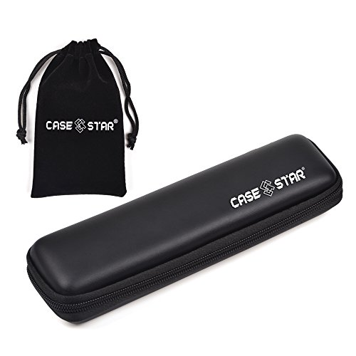 Case Star Bohemian Canvas Dark Blue Classic Stripe Rolling Stationary Sleeve Pencil Pouch For 12 Colored Pencils With Zipper Pocket Inside (Black Eva)