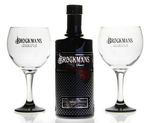 BROCKMANS Premium Gin mit Brockmans Gin Ballonglas (1 x 0,7l + 2 Ballongläser)