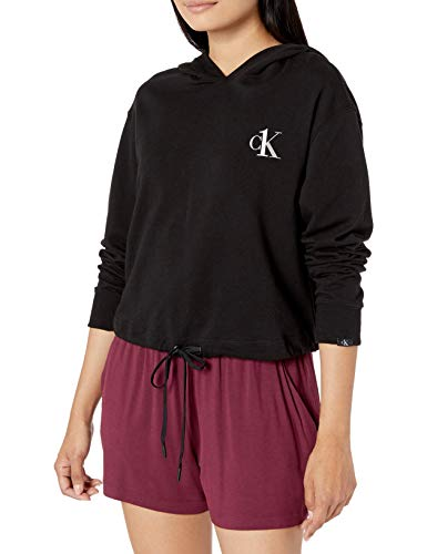 Calvin Klein Women's CK One French Terry Cropped Long Sleeve Hoodie, Black, L