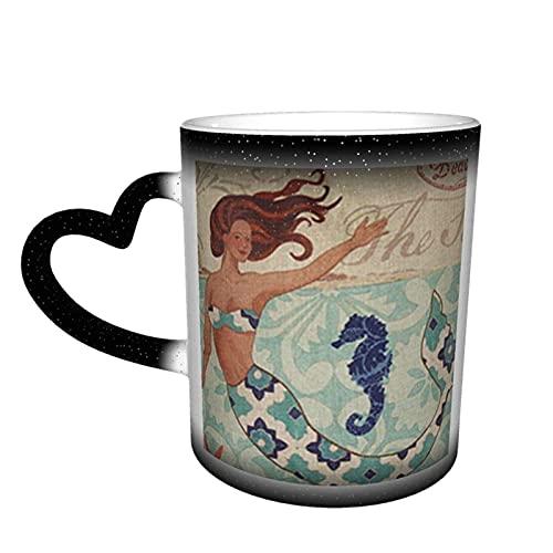 Oaieltj Divertido calor cambiante tazas, sirena personalizada calor sensible color cambiante taza taza de té de leche tazas de café mágicas