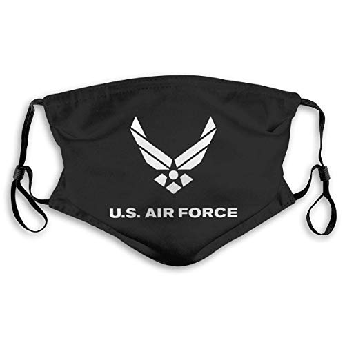 Us Air Force USAF Unisex Windproof and Dustproof Adjustable Mask Equipped with Two Replaceable Activated Carbon Filters M