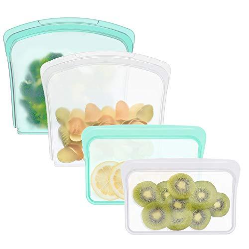 再利用可能なシリコンフードバッグ、サンドイッチバッグとスナックバッグ、フルーツ野菜、子供のスナック、マリネ肉、冷凍庫、食器洗い機使用可 (4パック、スナックサイズ、サンドイッチ)