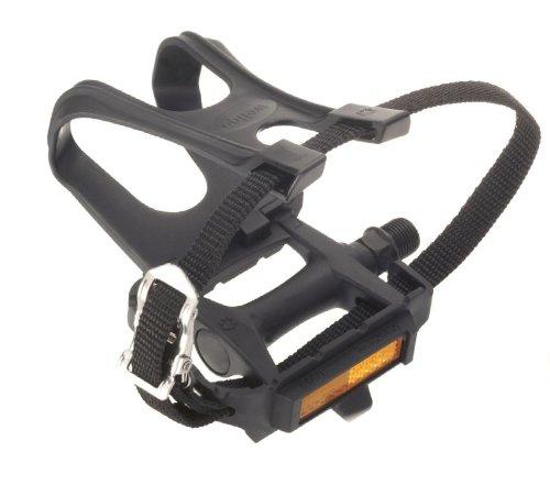 Wellgo R090 Schwarze Kunststoff Pedale mit Fußkorb und Riemen als Set