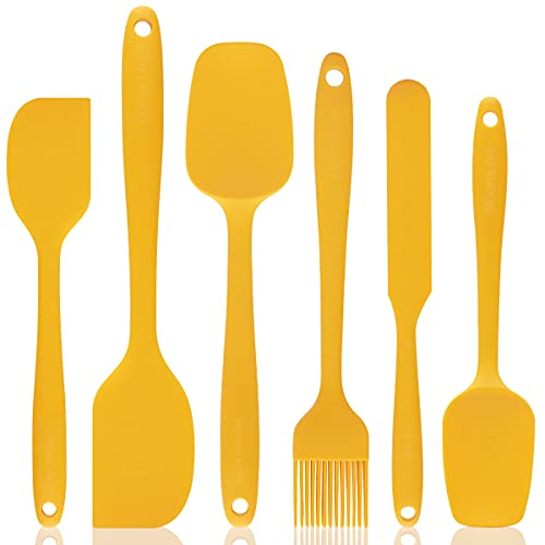 Bloomoon Silicone Spatula Set - 6 pcs Heat Resistant Rubber Spatula for Non-Stick Cookware with Stainless Steel Core - Spatula Scrapper Brush for Baking, Cooking and Mixing (Ginger Yellow)