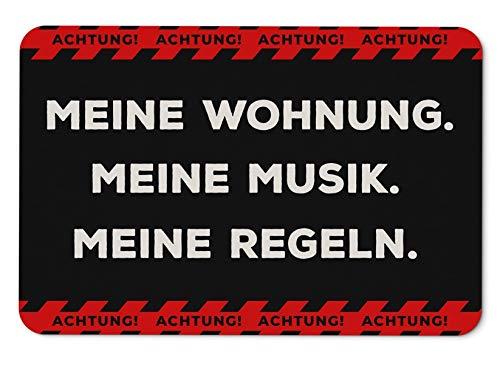 Tassenbrennerei Fussmatte mit Spruch Achtung Meine Wohnung, Musik, Regeln - Fußabtreter, Türmatte - Originelles lustiges Geschenk