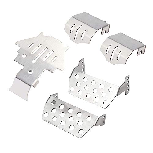 INJORA Chassis Armor Axle Protector Skid Plate for 1/10 RC Crawler TRX-4,Stainless Steel