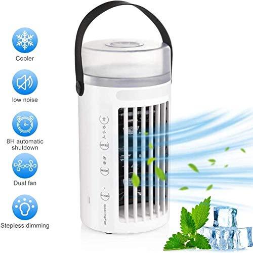 Persönlicher Luftkühler Mini Mobile Klimaanlage USB Klimaanlagenlüfter,4 in 1 Klimageräte leiser Ventilator Luftbefeuchter Luftreiniger,3 Geschwindigkeiten mit LED für Zuhause Büro Zelten(Turmlüfter)