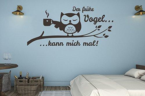 tjapalo® s-tk31 Wandtattoo Schlafzimmer modern Wohnzimmer Wandsticker Büro Eule Wandaufkleber der frühe Vogel kann mich mal (Breite80 x Höhe33 cm)
