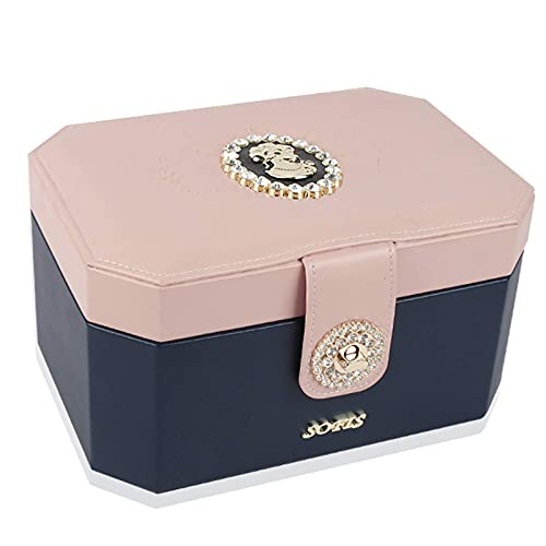 GDSKL Caja de Almacenamiento de Joyería Caja de Pulsera Caja de Joyería Caja de Almacenamiento de Viaje Organizador Mujer,Azul