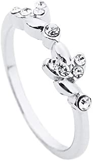WoCoo Crystal Diamond-Set Glitz Ring,Trendy Forefinger Ring for Gift(Silver,Size 7)