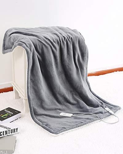 MaxKare電気毛布 電気ひざ掛け 、温度6調節、過熱保護 & に電源が自動オフします140x80cm