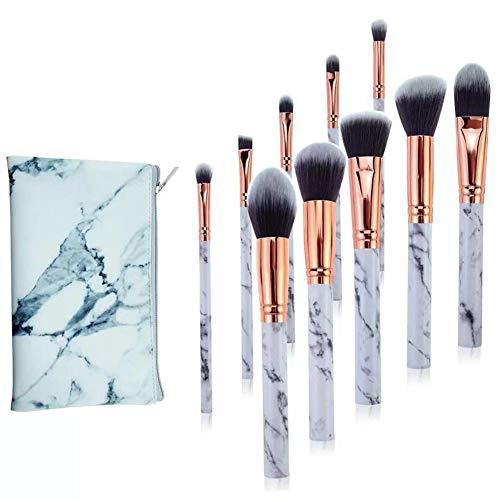 CCZMD Lot de 10 pinceaux de maquillage professionnels en marbre avec fond de teint, fard à paupières, pinceau à sourcils et trousse de maquillage, B